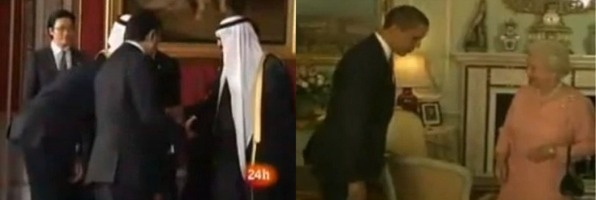 Obama bows to King and Queen
