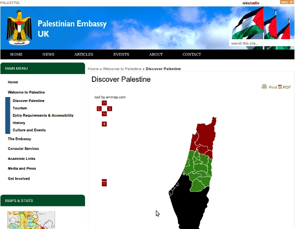 UK Palestine Embassy - Israel wiped off the map