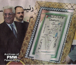 Abbas poses with a map of 'Palestine' with Israel nowhere to be seen