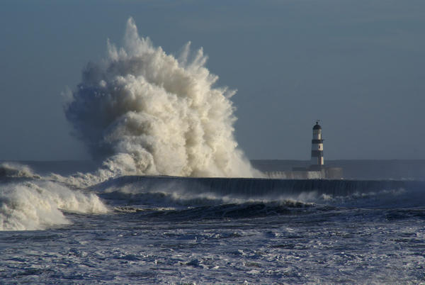 Giant waves on the seafront at Seaham, County Durham